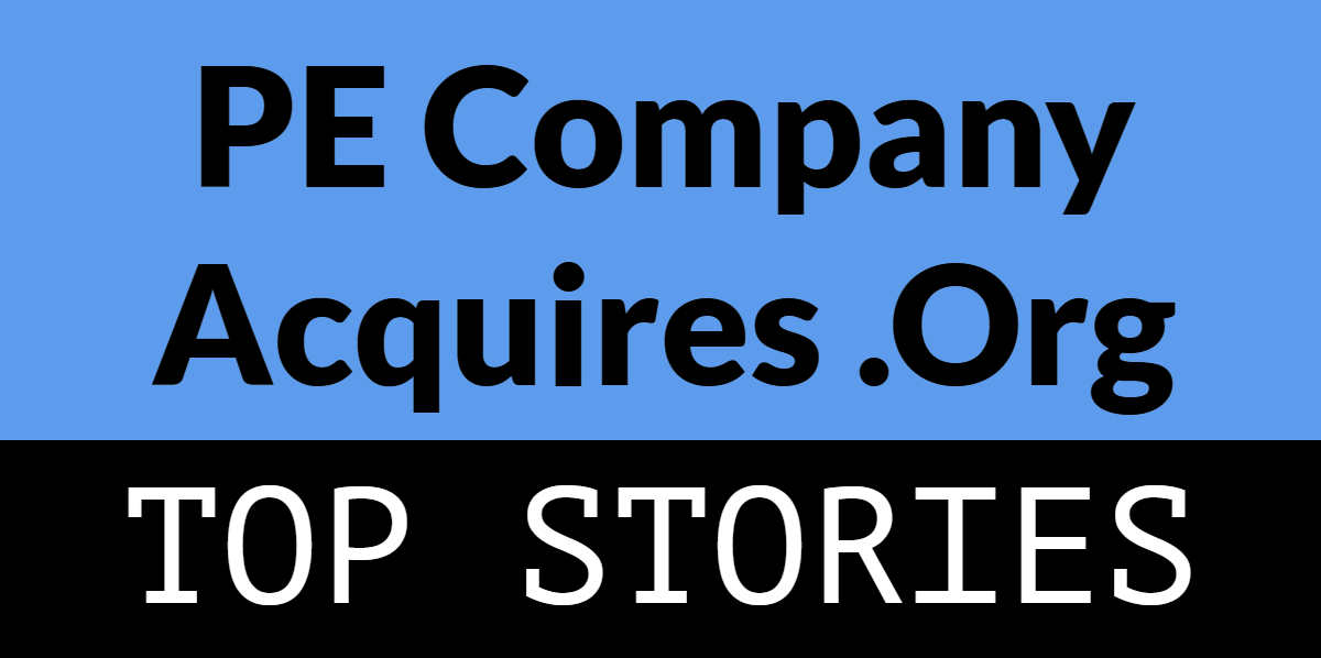 "Graphic rectangle with blue and black background and the words ""PE Company Acquires .org"" and ""Top Stories"""