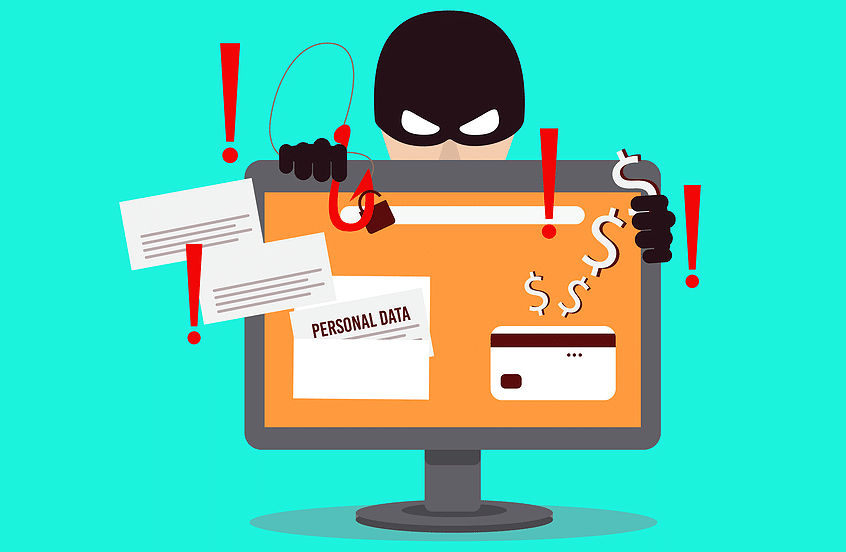Picture of thief looking over a computer screen with representations of spam, malware, identity theft.