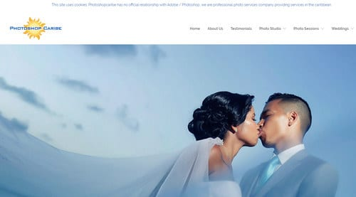 Screenshot of PhotoshopCaribe.com, a domain name that Adobe says is cybersquatting on its Photoshop brand