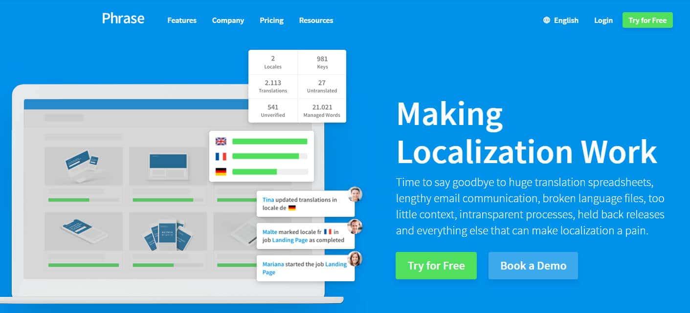 Screenshot of Phrase.com, a software translation management company