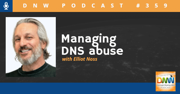 """Picture of Elliot Noss, CEO of Tucows with the words """"Managing DNS Abuse"""""""