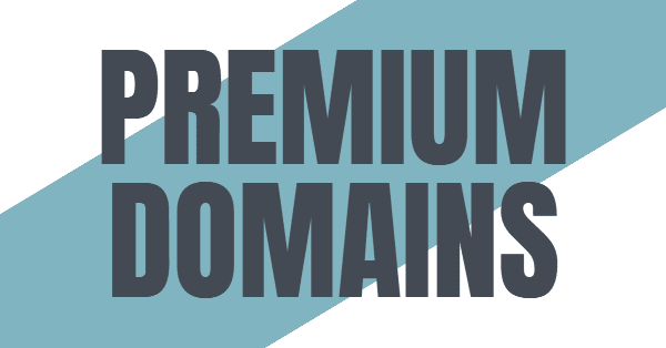 "Graphic with the words ""premium domains"""