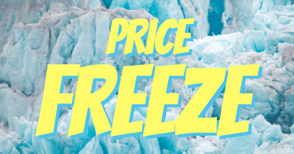 "Image of frozen icebergs with the words ""price freeze"" in yellow and blue font"