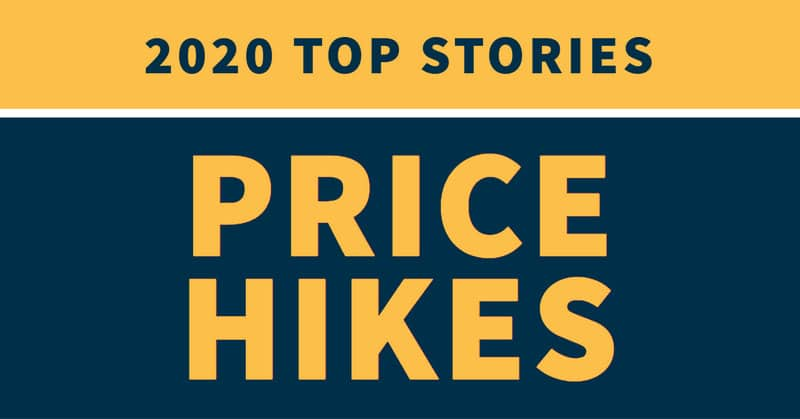 "Blue and yellow graphic stating ""2020 top stories: price hikes"""