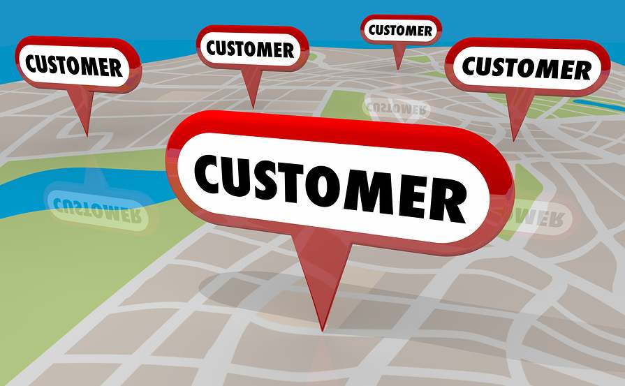 "Picture of map with ""customer"" written in multiple locations"