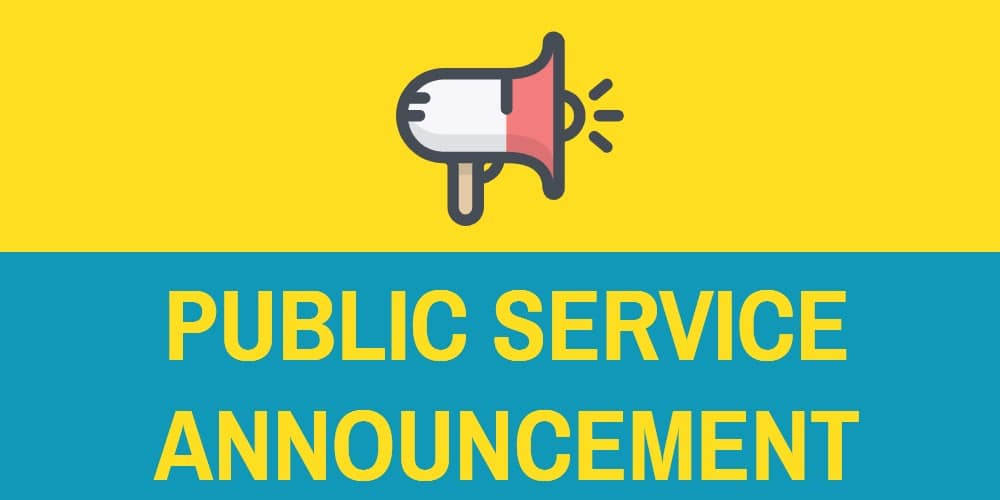 "Image of megaphone with words ""Public Service Announcement"" below it"
