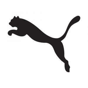 Puma sportswear logo shows a black puma leaping on a white background
