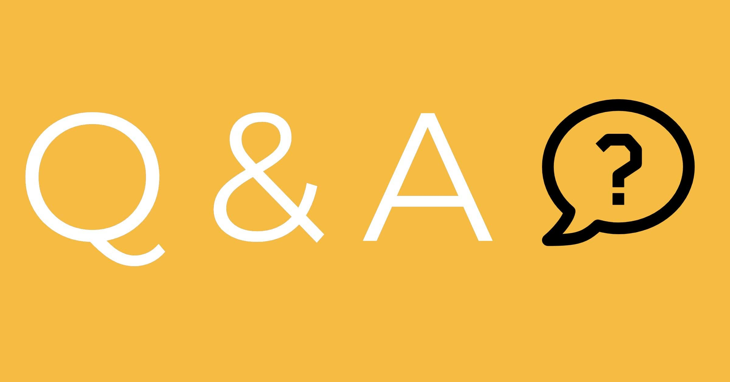 Q & A with a question market in a though bubble on a yellow background