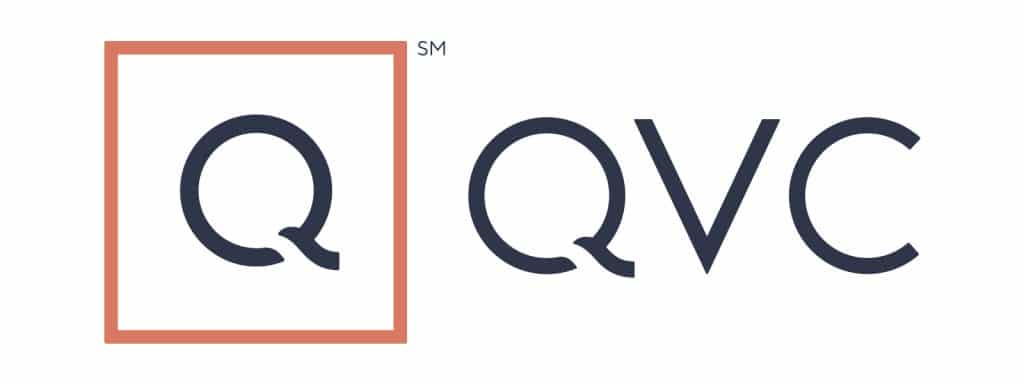 Logo for Q and QVC featuring a stylized Q with an orange box around it