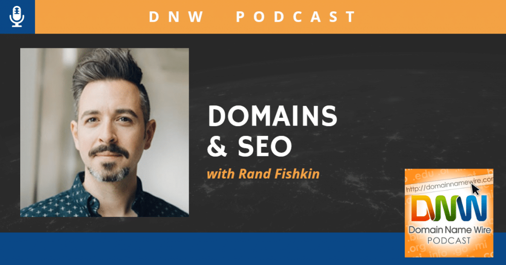 "Picture of Rand Fishkin and the words ""DNW Podcast: Domains & SEO"" with Rank Fishkin"