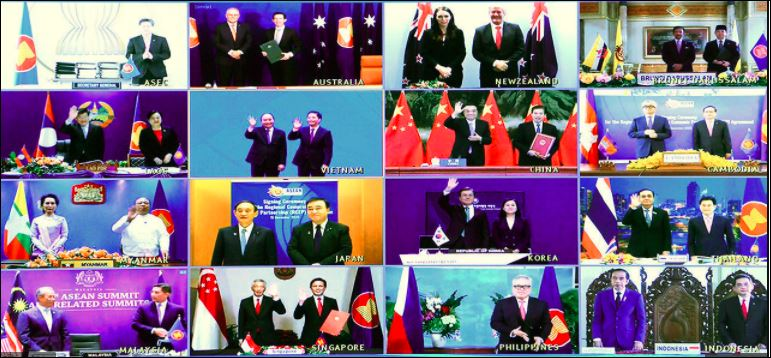 An image of the virtual RCEP signing ceremony
