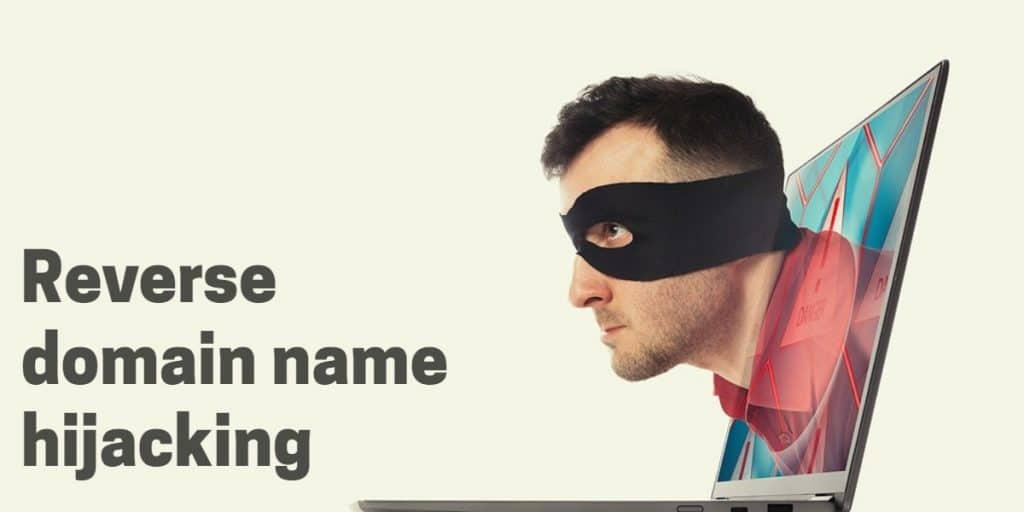 """A picture of a man's face with an eye cover coming out of a laptop screen with the words """"reverse domain name hijacking"""""""
