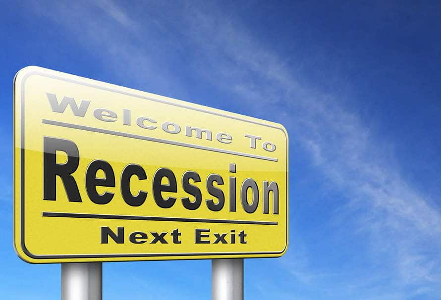"Signpost that reads ""Welcome to Recession Next Exit"""