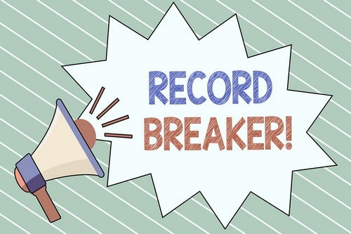 Megaphone with the words Record Breaker
