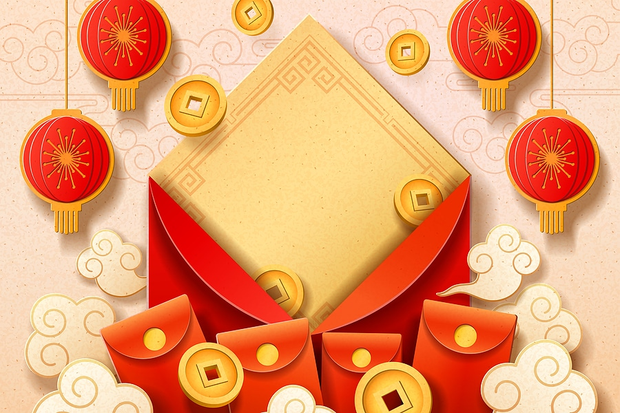 Image depicting Red packets in China, a sign of good fortune