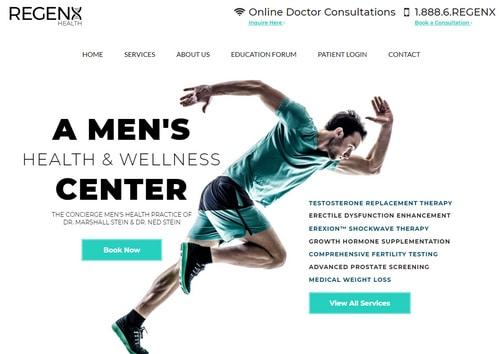 Image of website for RegenX Health in Houston
