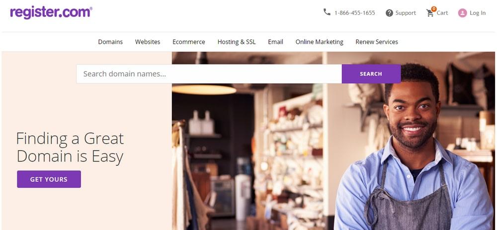 Screenshot of Register.com home page