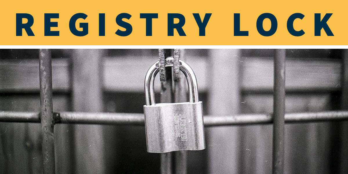 "Picture of lock on bars with the words ""Registry Lock"" above it in black letters on yellow background"