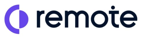 Logo for Remote.com shows purple stylized image and the word remote in black letters