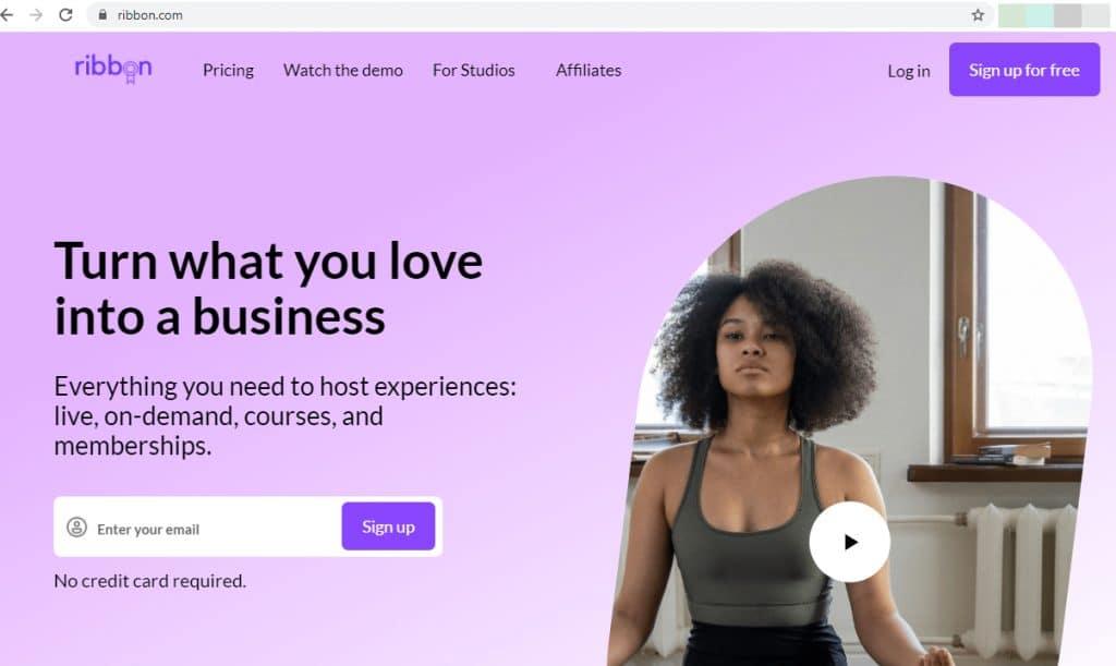 Screenshot of Ribbon.com showing a woman doing exercise