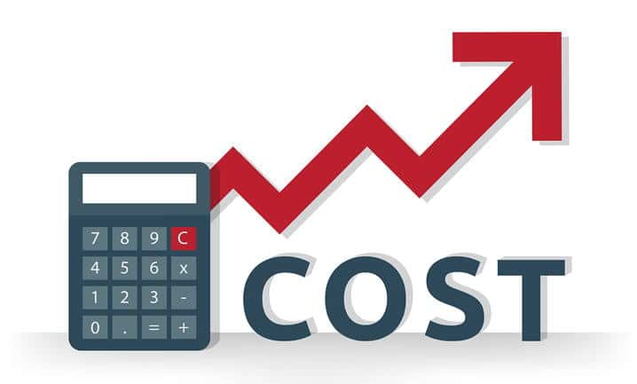 Calculator icon with red arrow rising to the right and up, and the word 'cost'