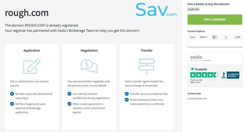 SedoMLS brokerage service lander allows a Sav.com customer to hire Sedo's brokers