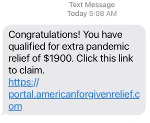 A scam text message about fake pandemic relief
