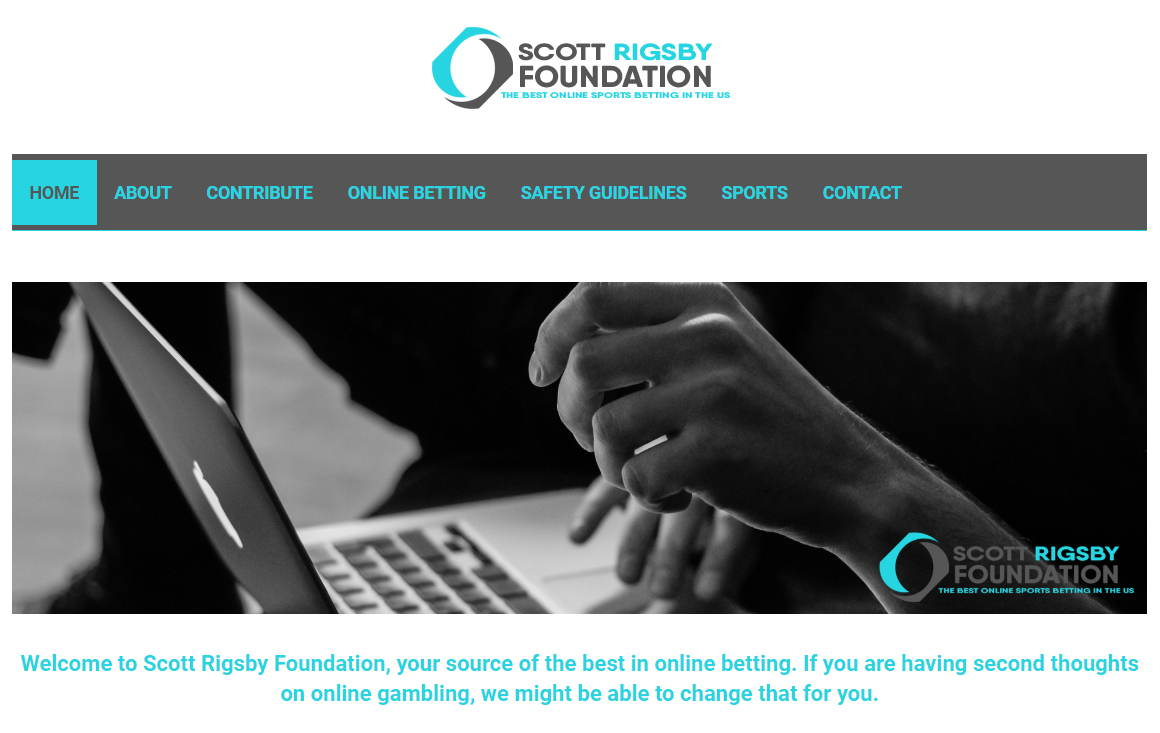 A screenshot of ScottRigsbyFoundation.org showing its use for online gambling