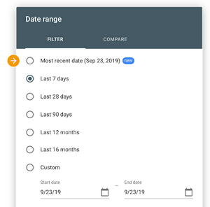 "Screenshot of Google Search Console data selection showing ""most recent date"""