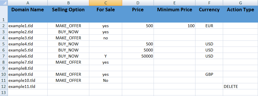 An image of a spreadsheet showing domains for sale.