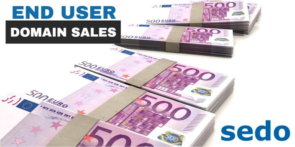 "Picture of bundles of 500 euro notes with the words ""End User Domain Sales"" and the logo for Sedo"