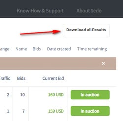 Picture of downloadable list option on Sedo