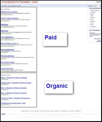 sedo organic search results