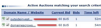 sedo auction user interface