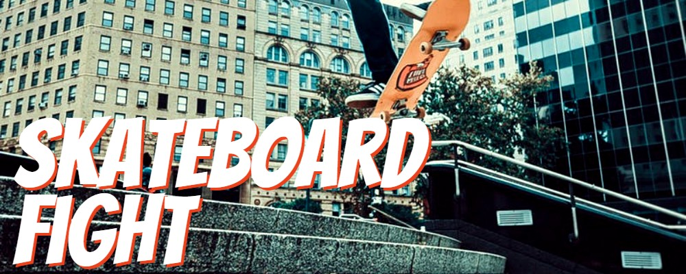"Picture of skateboard with words ""Skateboard Fight"""