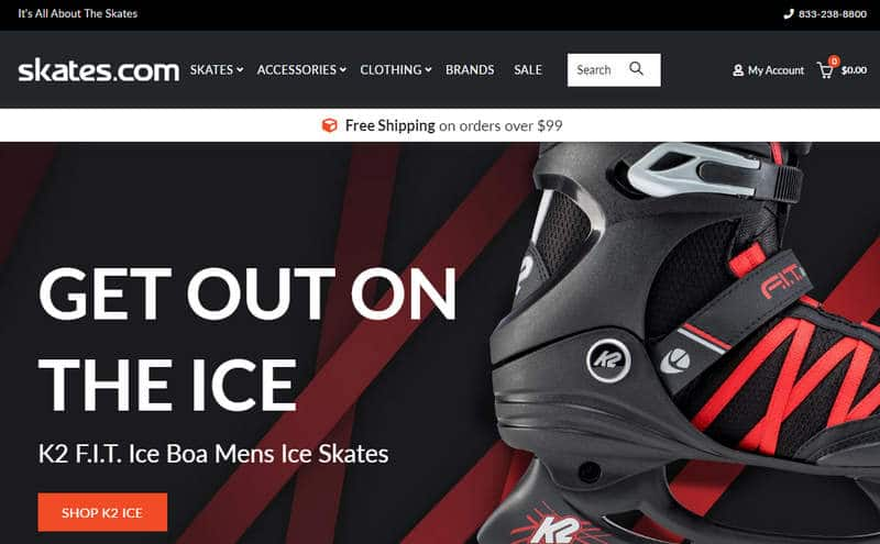 Screenshot of Skates.com with an image of an ice skate
