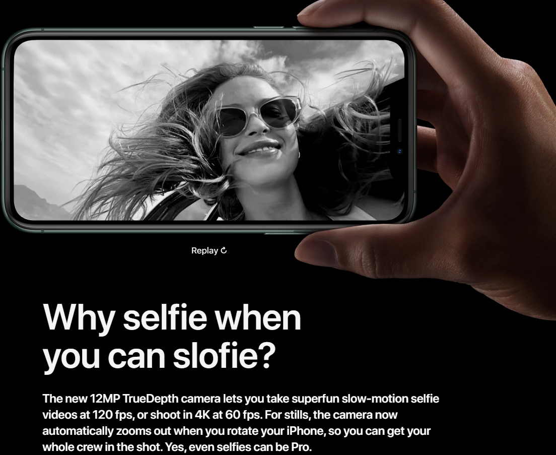 Apple iPhone 11 image with a slofie, a slow-motion selfie