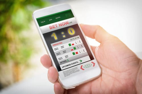 Image of smart phone with sports betting app