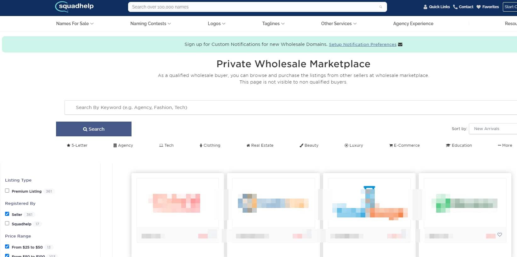 Screenshot of Squadhelp wholesale marketplace