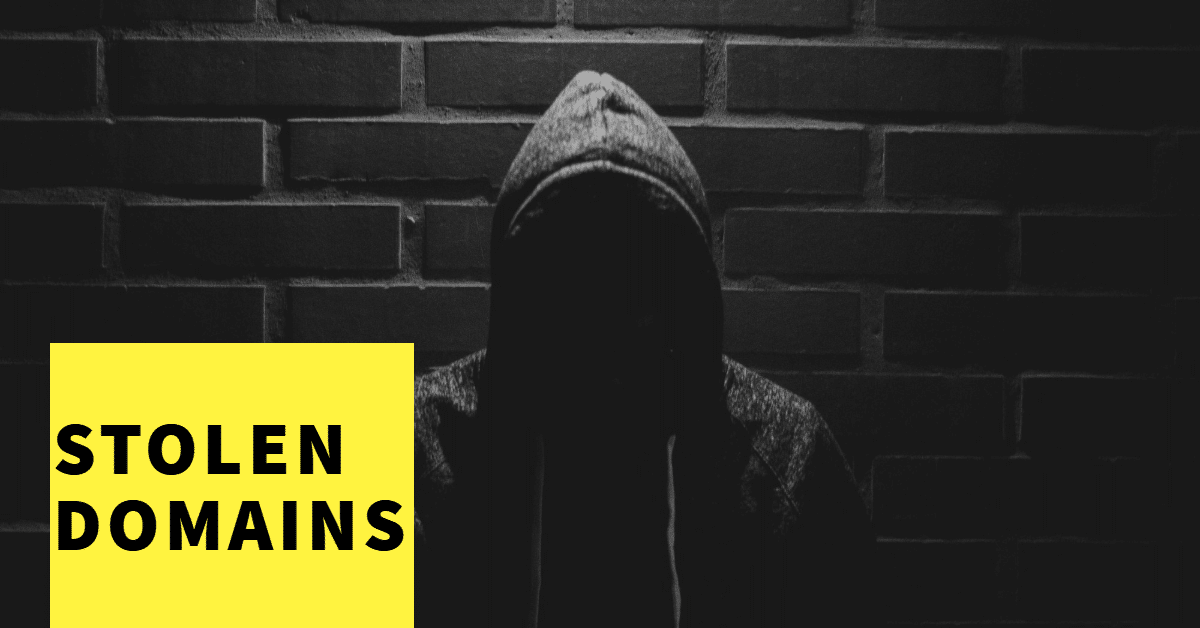 """Picture of shaded man in hoodie with the words """"stolen domains"""""""