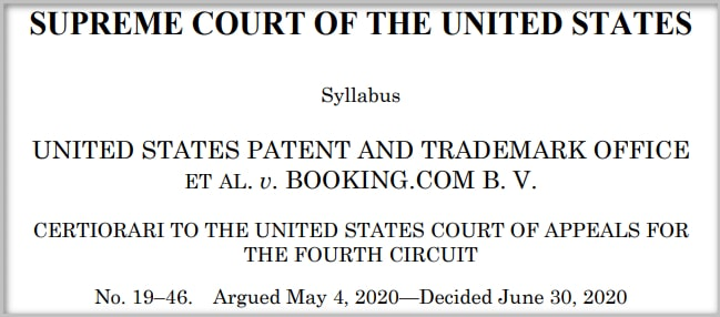 Screenshot of header of Supreme Court decision for Booking.com trademark