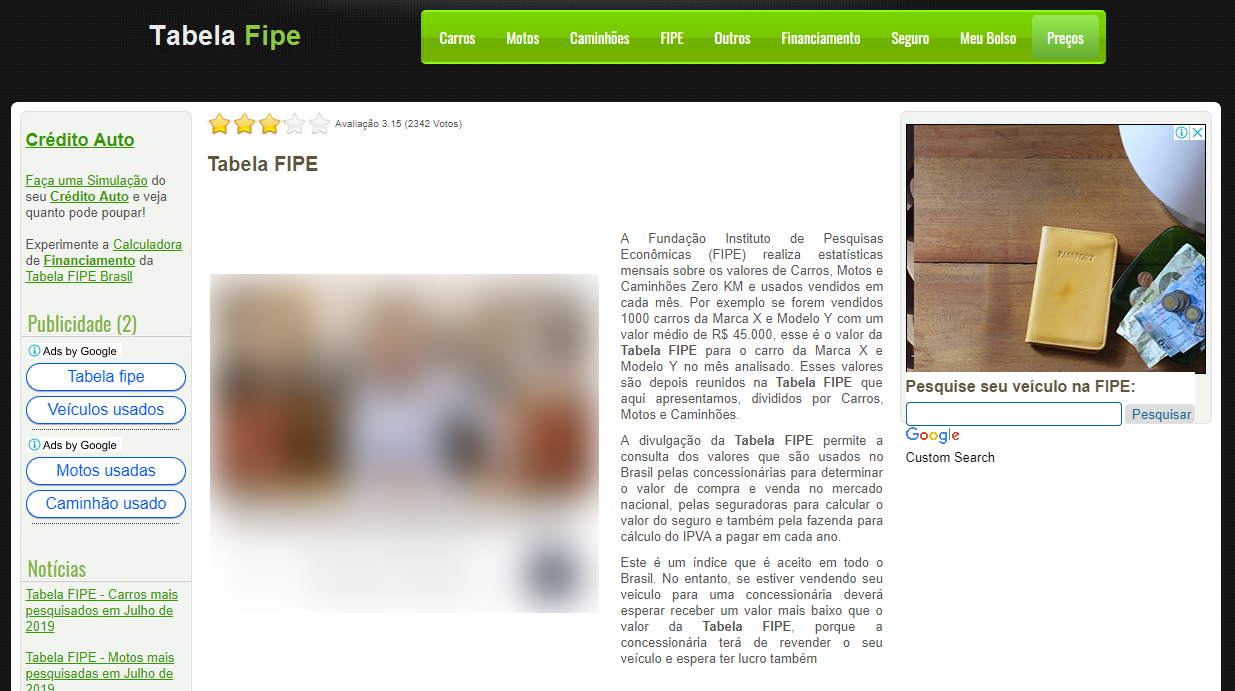 Screenshot of tabelafipebrasil.com, which is the subject of a stolen domain lawsuit