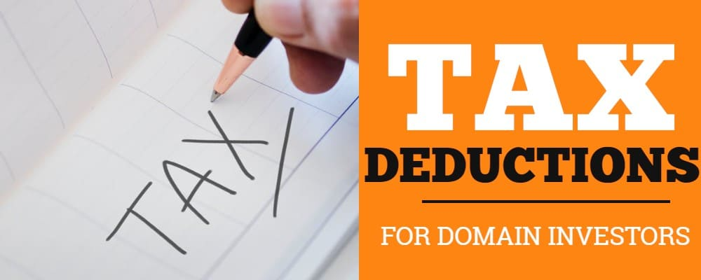 Image with word Tax and Tax Deductions for domain investors