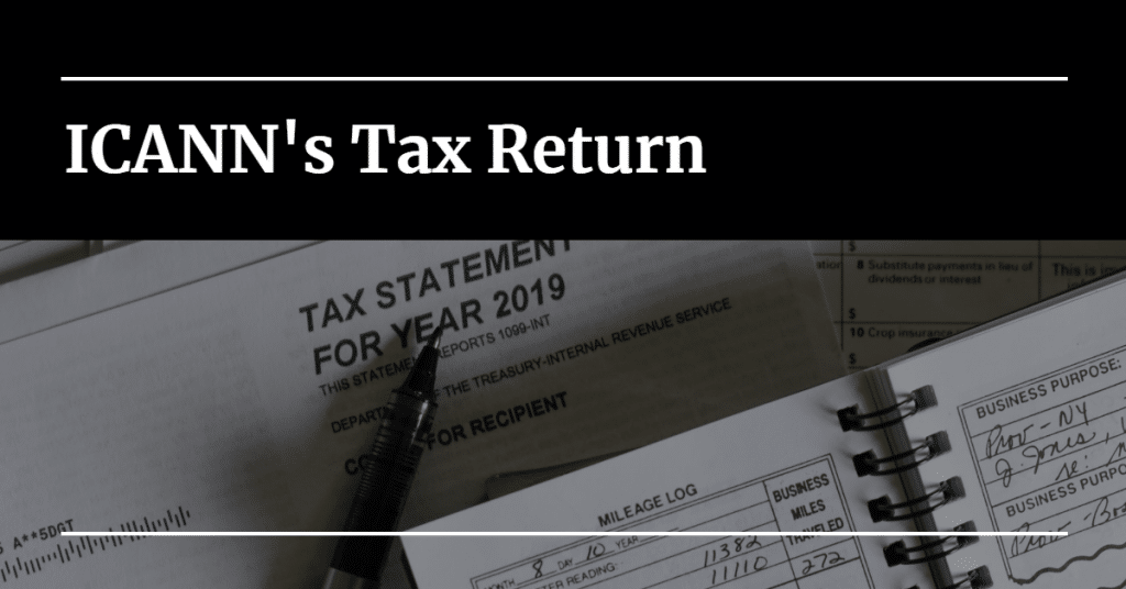 """Picture of a tax statement with the words """"ICANN's Tax Return"""""""