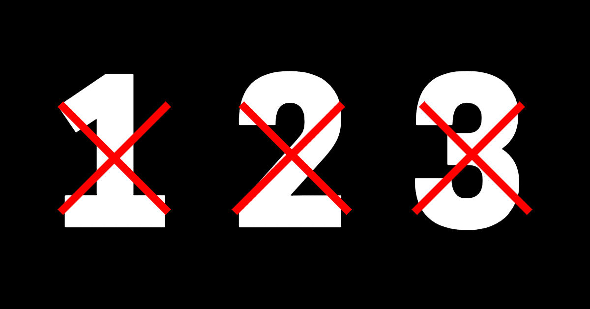 Black background with white numbers 1 2 and 3 with red x through them