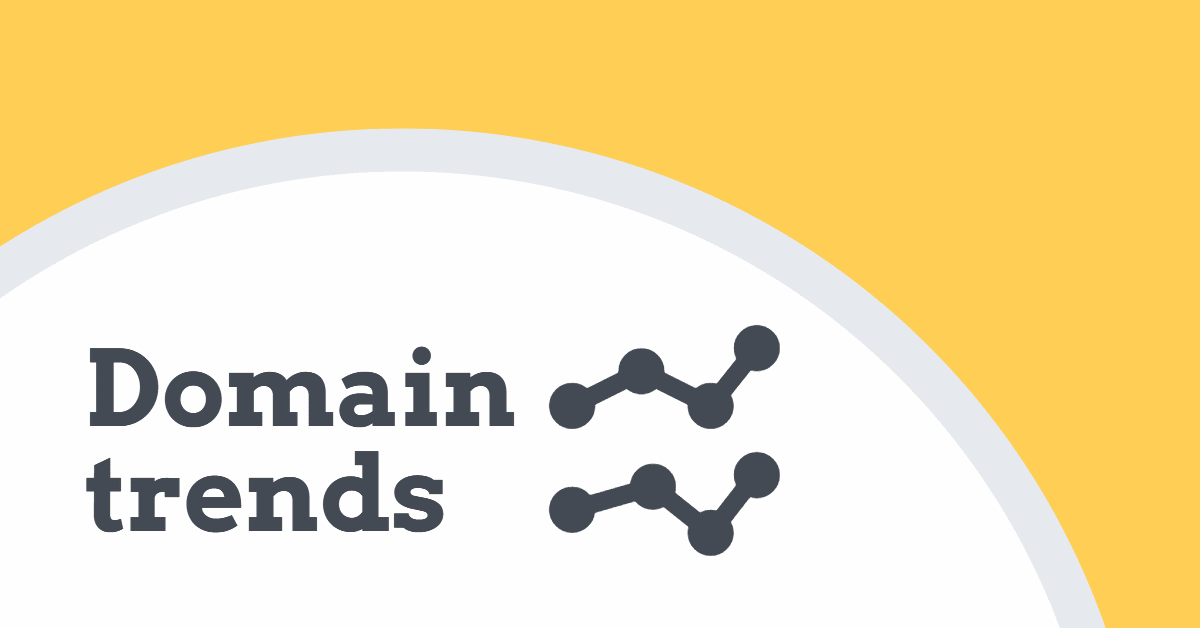 """The words """"domain trends"""" with two trend lines and a yellow arced background"""