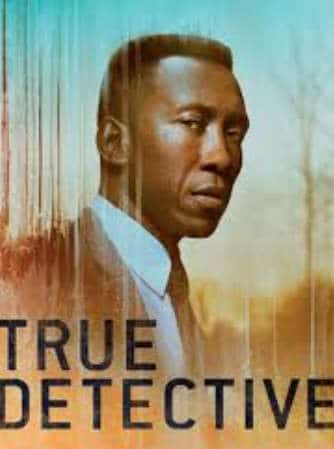 Promotional picture for True Detective TV show featuring detective in background