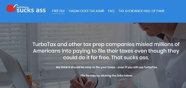 Screenshot of TurboTaxSucksAss.com