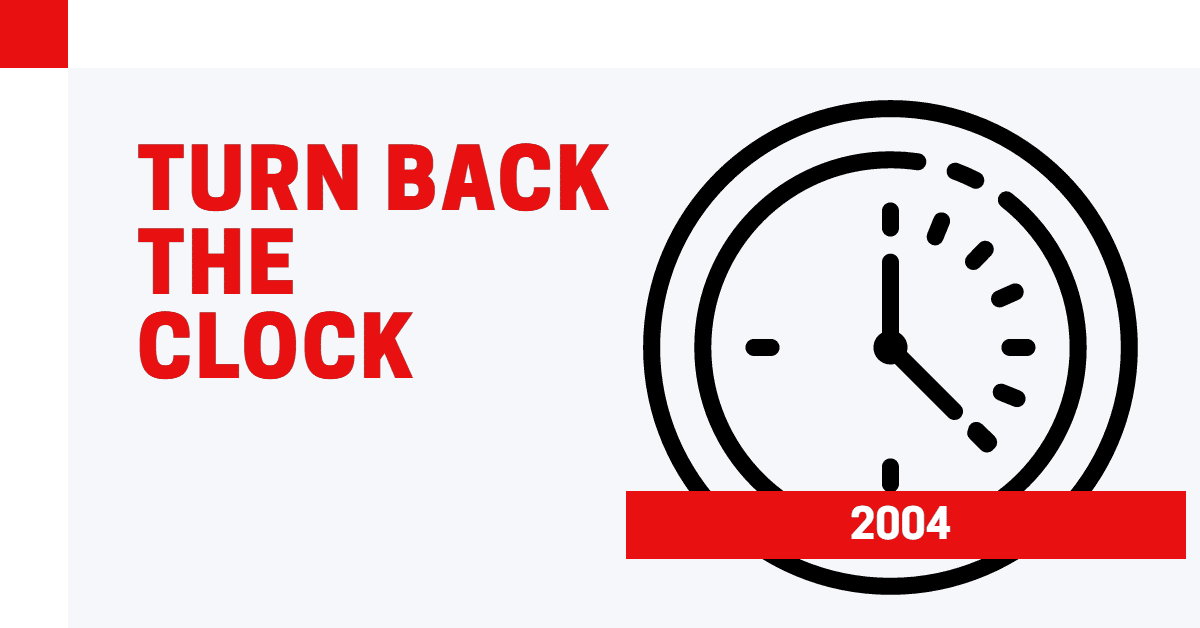 """A clock icon with words """"Go back to 2004"""""""