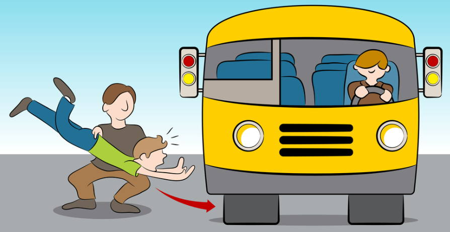 Graphic of man throwing another man under a bus